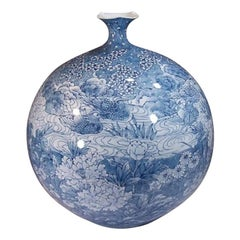 Contemporary Japanese Blue and White Porcelain Vase by Master Artist