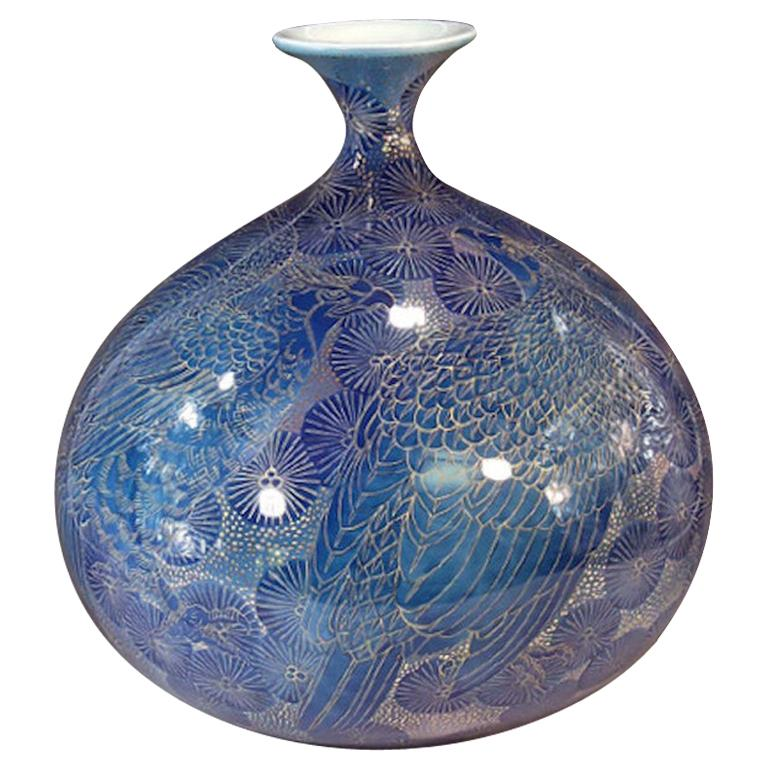 Large Contemporary Japanese Blue Gilded Porcelain Vase by Master Artist