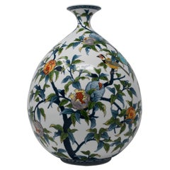 Japanese Blue Green Yellow Contemporary Porcelain Vase by Master Artist