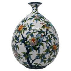 Large Japanese Blue Contemporary Porcelain Vase by Master Artist