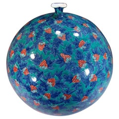 Japanese Blue Red Green Porcelain Vase by Contemporary Master Artist