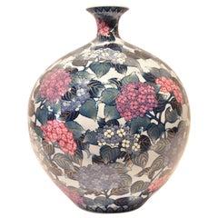 Large Blue White Red Porcelain Vase by Japanese Master Artist