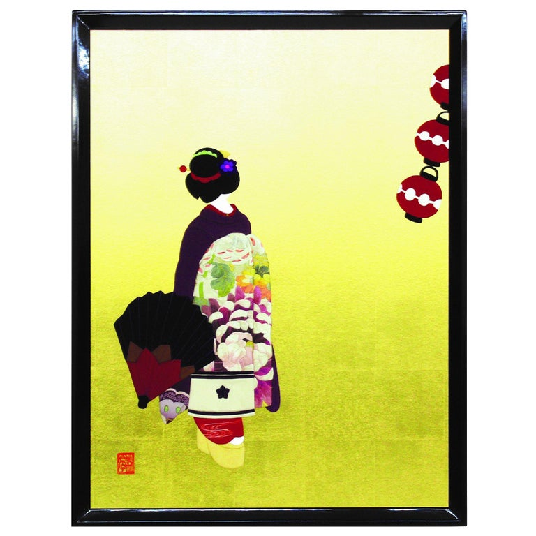 Large Contemporary Japanese Framed Gilded Silk and Brocade Oshie Decorative Art For Sale