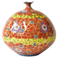 Large Contemporary Japanese Gilded Red Yellow Ceramic Vase by Master Artist