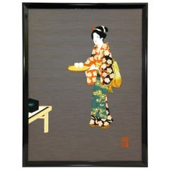 Large Contemporary Japanese Green Black Framed Gilded Silk Brocade Oshie Art