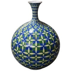 Large Contemporary Japanese Green Blue Yellow Porcelain Vase by Master Artist