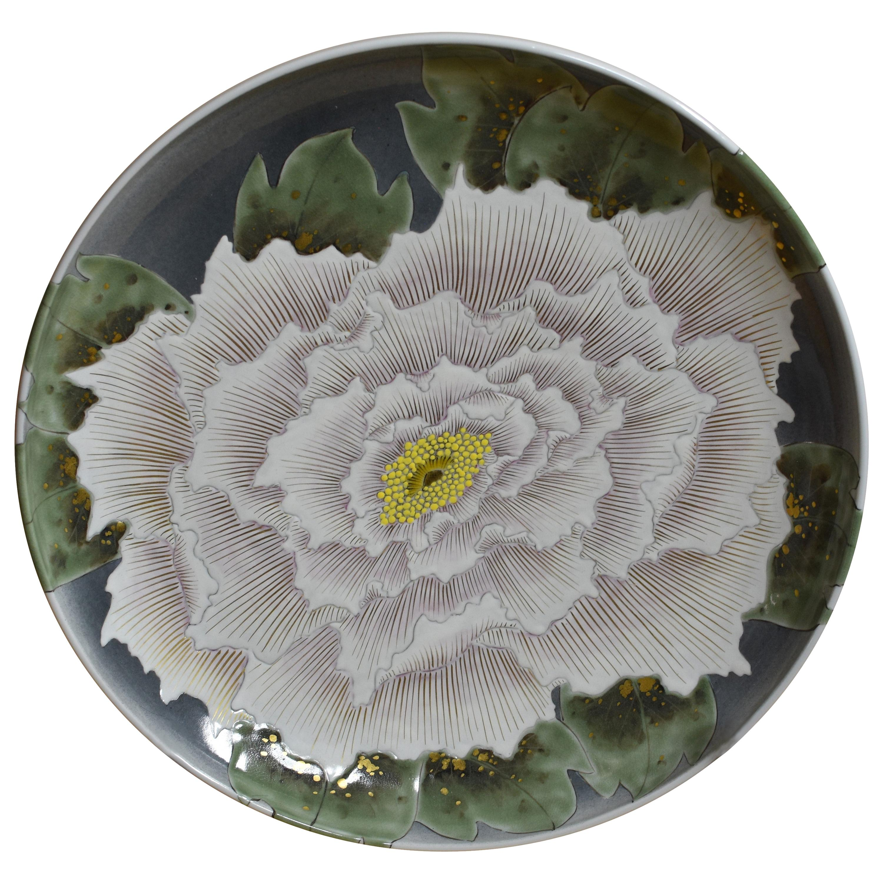 Large Contemporary Japanese Green White Porcelain Charger by Master Artist