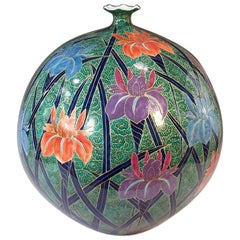 Large Contemporary Japanese Green Purple Porcelain Vase by Master Artist