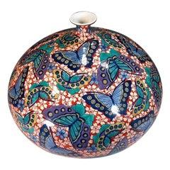 Green Blue Large Japanese Porcelain Vase by Contemporary Master Artist