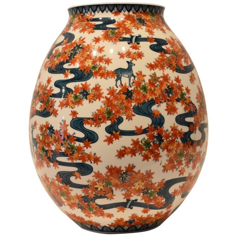 Large Japanese Porcelain Vase by Master Artist For Sale