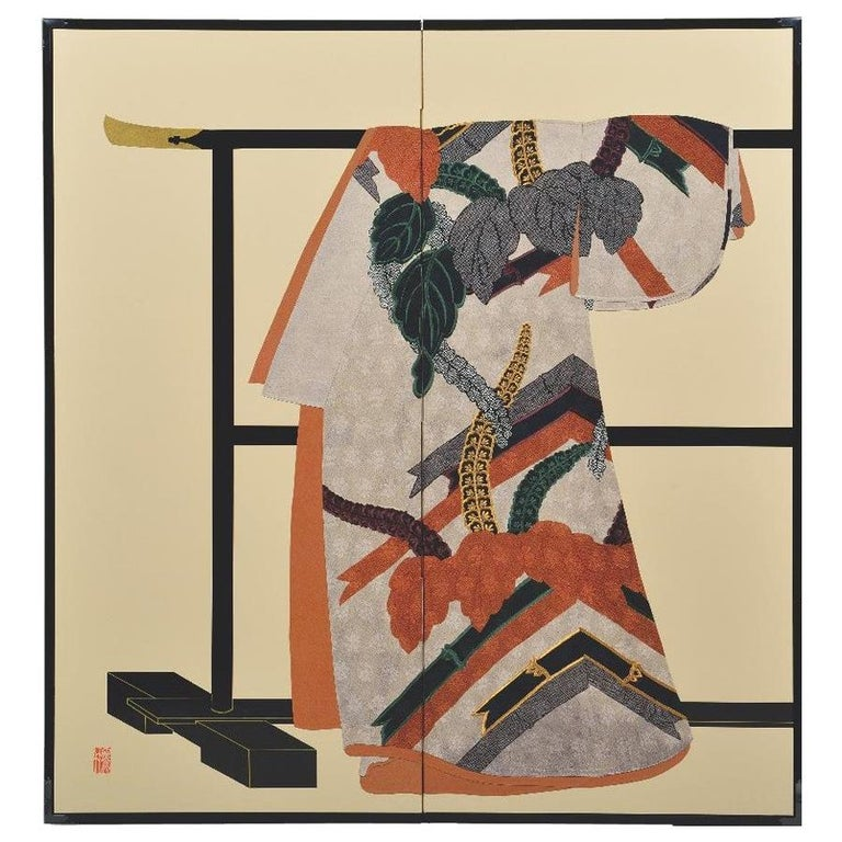 Large Contemporary Japanese Orange Black Gilded Silk Brocade Folding Screen For Sale