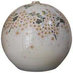 Large Contemporary Japanese Pink Cream Porcelain Vase by Kutani Master Artist