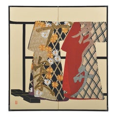 Large Contemporary Japanese Red Black Silk Folding Screen