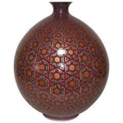 Large Contemporary Japanese Red Gilded Imari Porcelain Vase by Master Artist