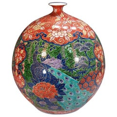 Large Contemporary Japanese Red Green Ko-Imari Porcelain Vase by Master Artist
