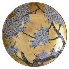 Large Contemporary Japanese White Gilded Porcelain Charger by Master Artist