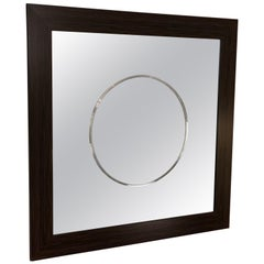 Large Contemporary Mirror with Circle Motif in Center