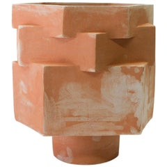Large Contemporary Raw Terracotta Ceramic Hexagon Planter