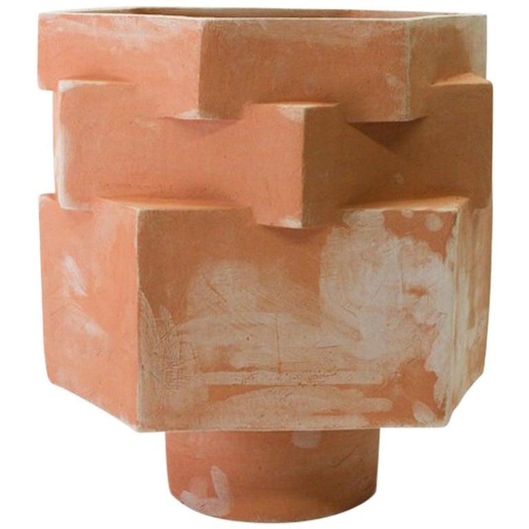 Large Contemporary Raw Terracotta Ceramic Hexagon Planter For Sale