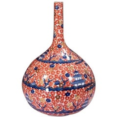 Large Contemporary Red Gilded Imari Ceramic Vase by Master Artist