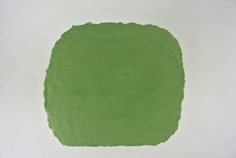 Organic Modern Large Contemporary Stoneware Platform with Matte Lichen Green Engobe For Sale