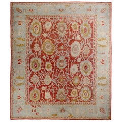 Large Contemporary Turkish Oushak Rug with Red and Gold Floral Details