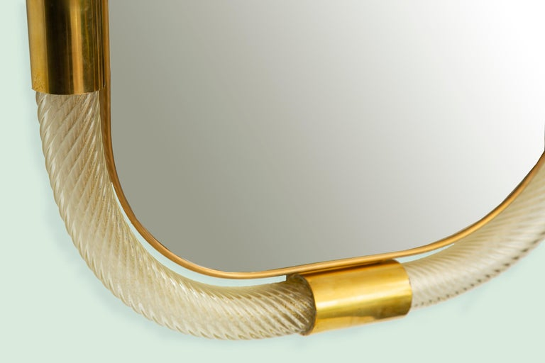 Large Contemporary Twisted Murano Glass and Brass Frame Mirror, in Stock For Sale 1