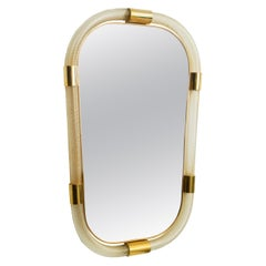 Large Contemporary Twisted Murano Glass and Brass Frame Mirror, in Stock
