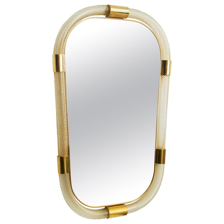 Large Contemporary Twisted Murano Glass and Brass Frame Mirror, in Stock For Sale
