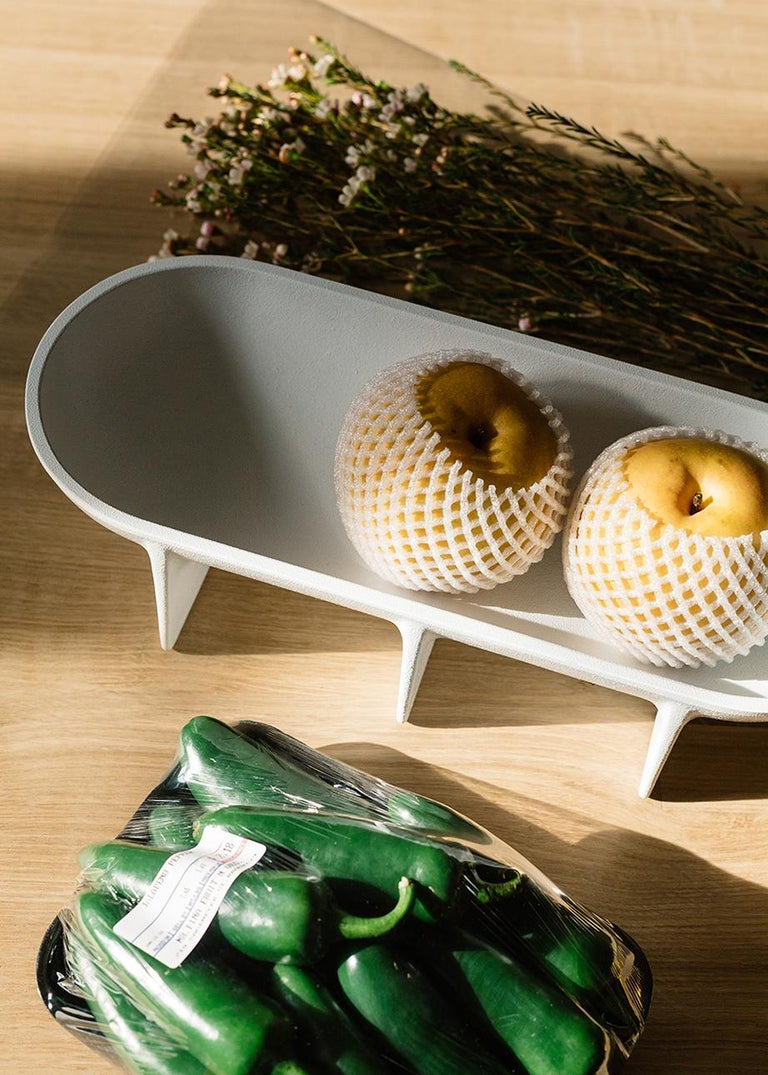 American Large Contemporary White Standing Bowl by Fort Standard, in Stock For Sale
