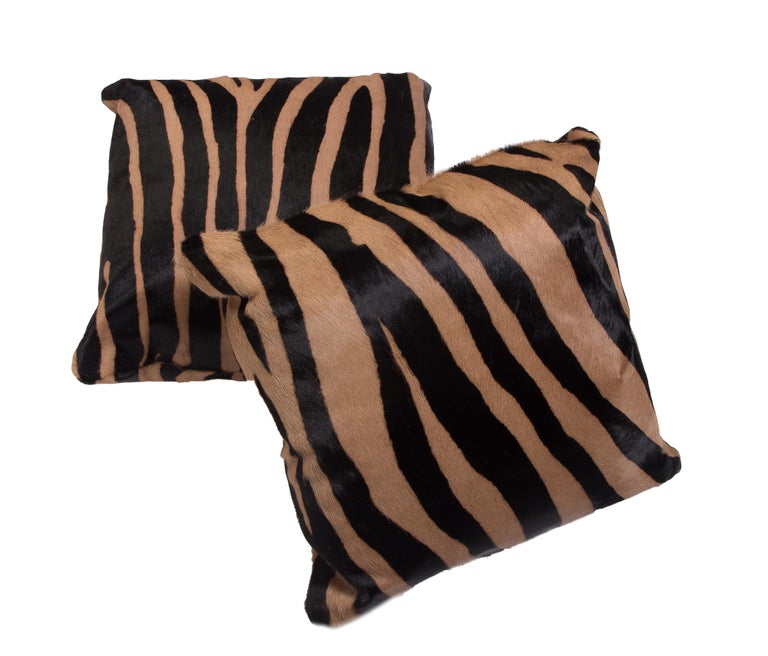 Other Large Contemporary Zebra Stencil Printed CowHide Hair Rug - Ink on Caramel For Sale