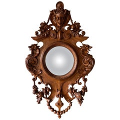 Large Continental European Black Forest Convex Mirror, Late 19th Century