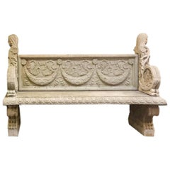 Large Continental Neoclassical Cast Stone Double-Sided Bench, Limestone