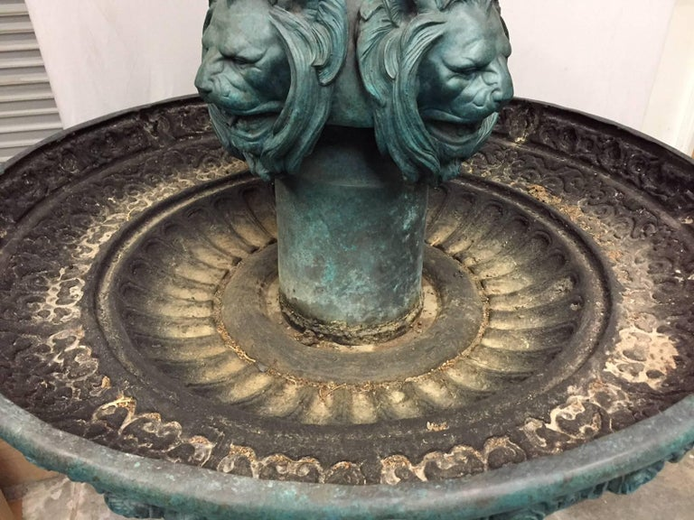 Large Continental Patinated Bronze Fountain with Four Neoclassical Maidens For Sale 8