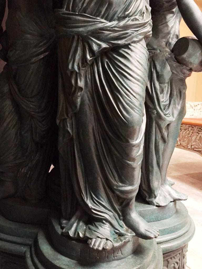 Large Continental Patinated Bronze Fountain with Four Neoclassical Maidens For Sale 9