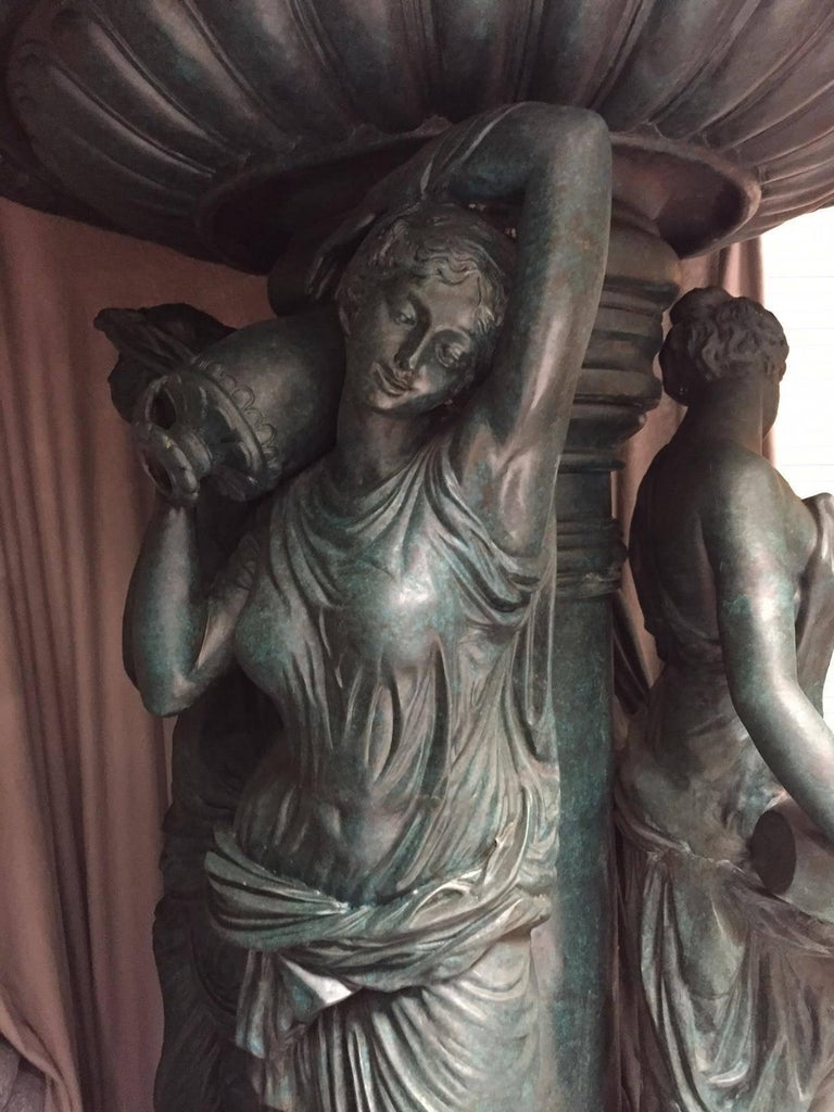 Large Continental Patinated Bronze Fountain with Four Neoclassical Maidens For Sale 10