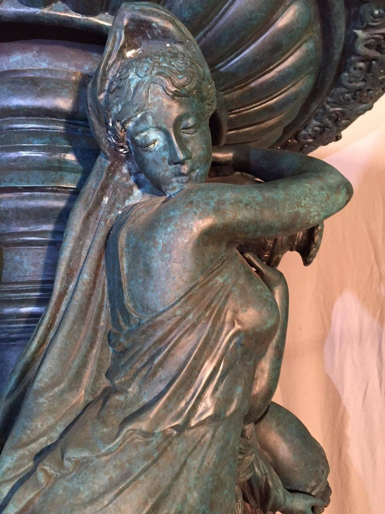 Large Continental Patinated Bronze Fountain with Four Neoclassical Maidens In Good Condition For Sale In Cypress, CA