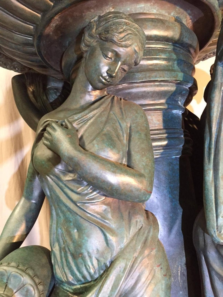 Large Continental Patinated Bronze Fountain with Four Neoclassical Maidens For Sale 1