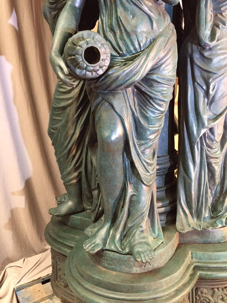 Large Continental Patinated Bronze Fountain with Four Neoclassical Maidens For Sale 2