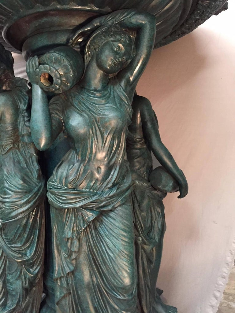 Large Continental Patinated Bronze Fountain with Four Neoclassical Maidens For Sale 3