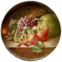 Large Copeland Pottery Charger, Fruits Signed by C F Hürten, Victorian 1890