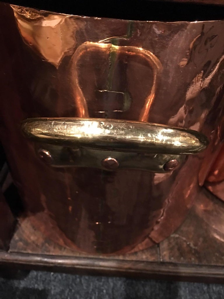 French Large Copper 32 Quart Stock Pot with Brass Handles, 19th Century For Sale