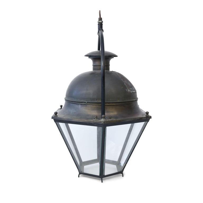 French Provincial Large Copper and Brass Hexagonal Lantern For Sale
