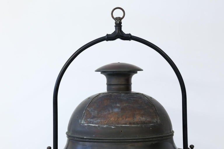 French Large Copper and Brass Hexagonal Lantern For Sale