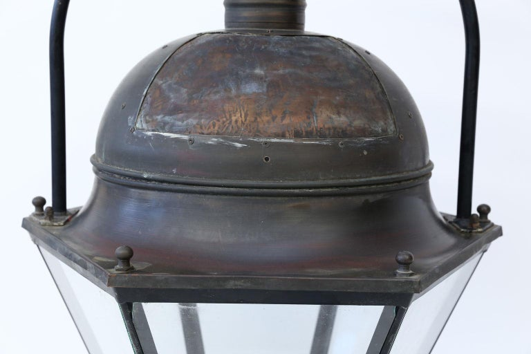 Large Copper and Brass Hexagonal Lantern In Good Condition For Sale In Houston, TX