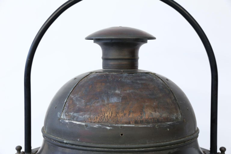 Mid-20th Century Large Copper and Brass Hexagonal Lantern For Sale