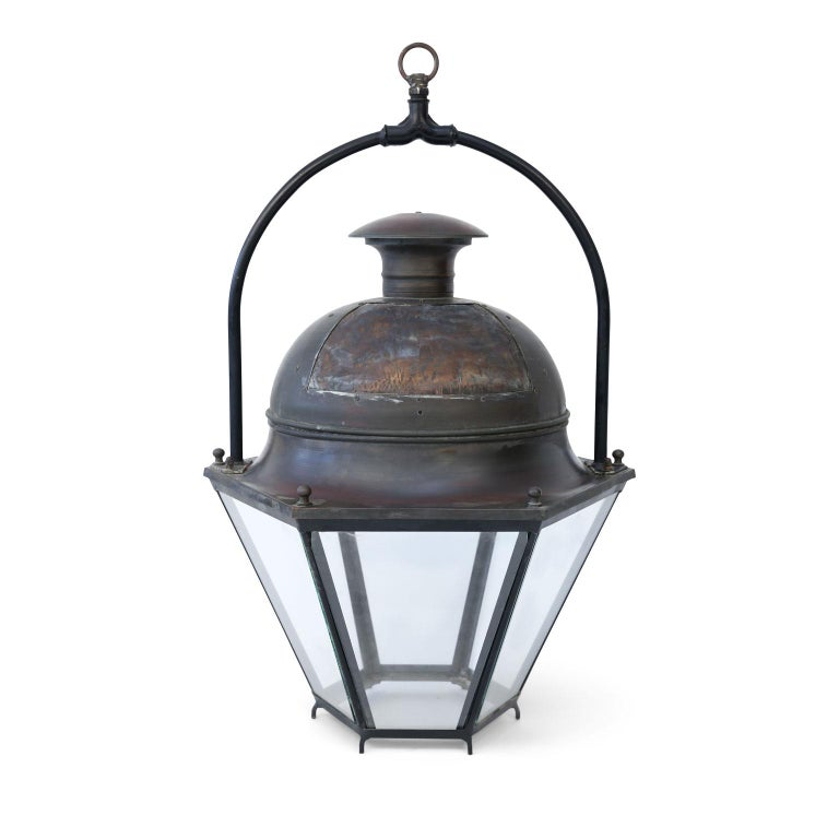 Large Copper and Brass Hexagonal Lantern For Sale 2