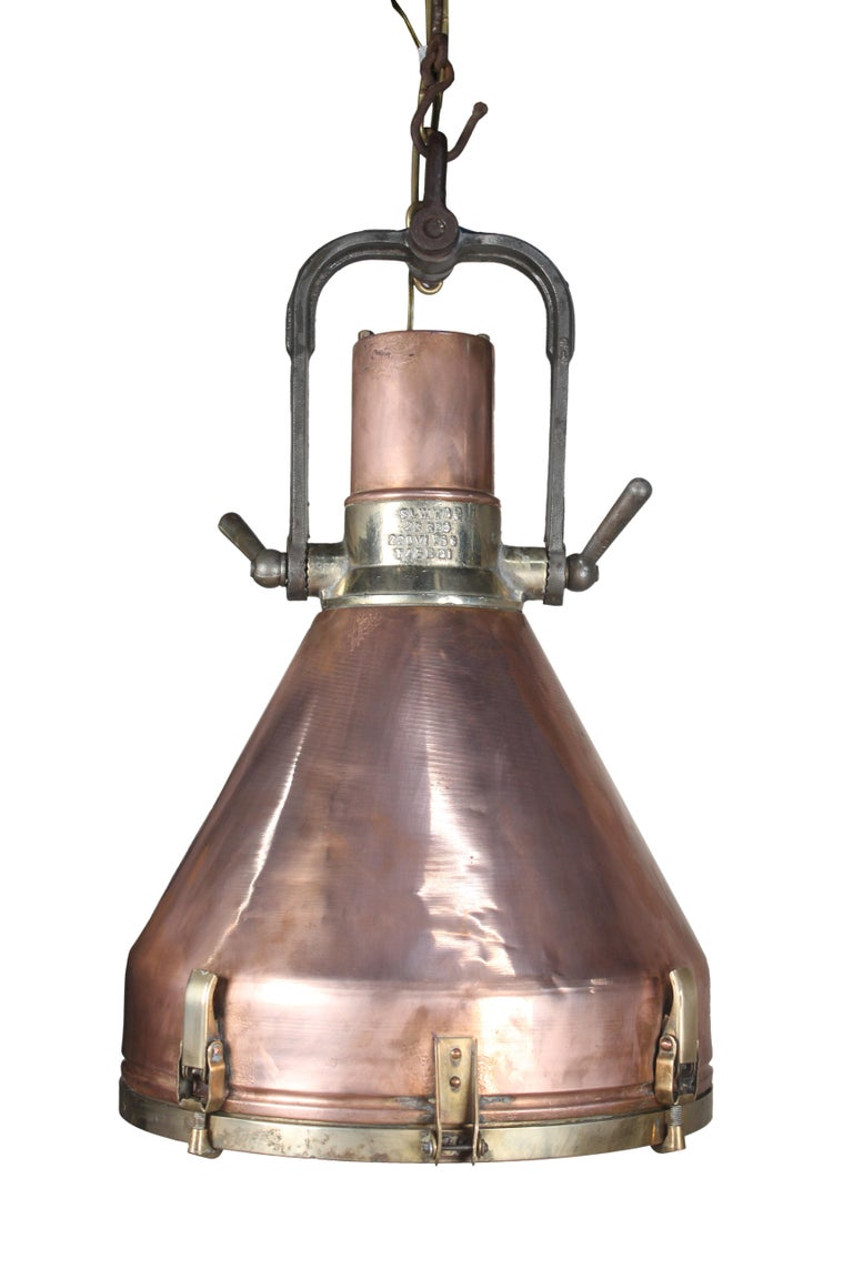 Industrial Large Copper and Brass Nautical Ship's Pendant Lights, 1970s For Sale