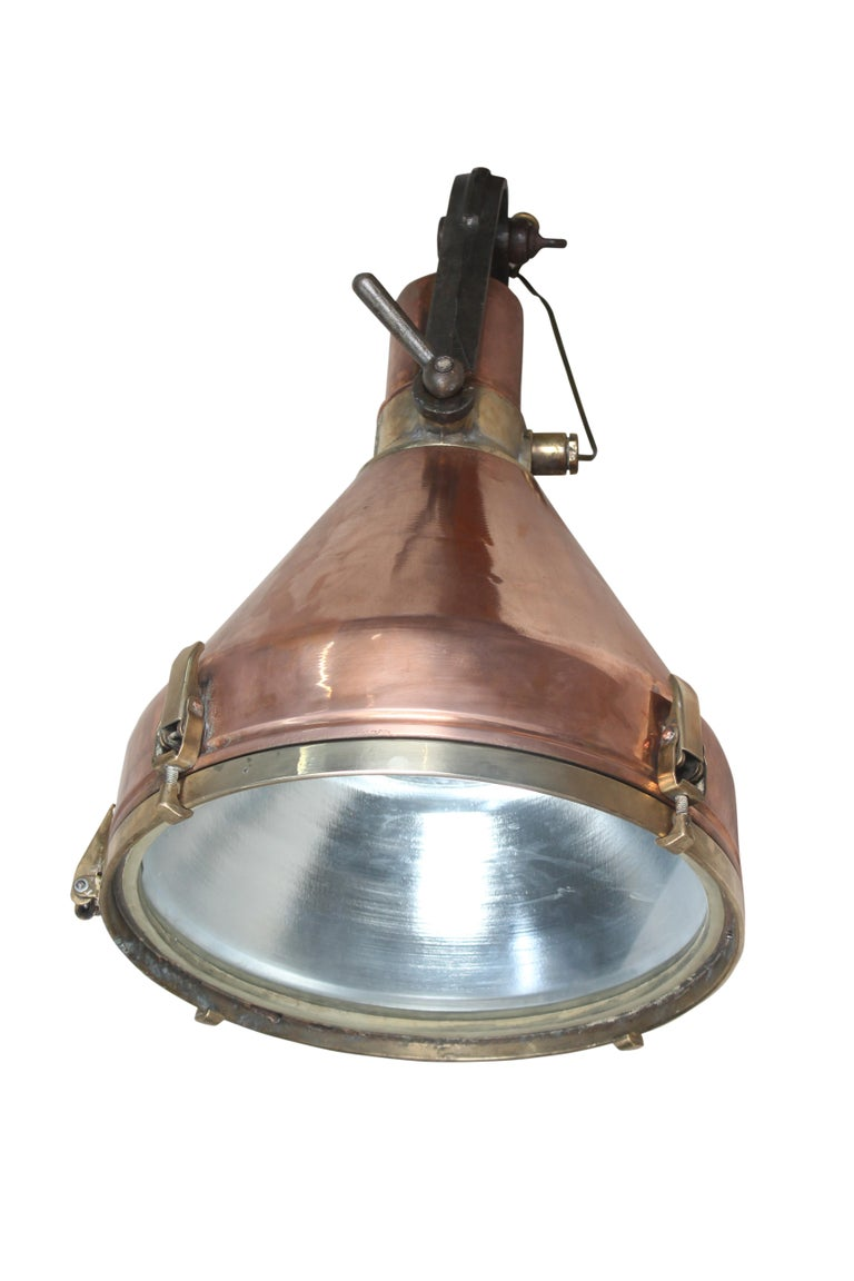 Large Copper and Brass Nautical Ship's Pendant Lights, 1970s In Good Condition For Sale In Nantucket, MA