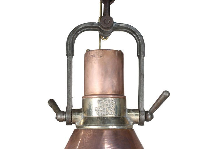 20th Century Large Copper and Brass Nautical Ship's Pendant Lights, 1970s For Sale